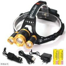 10000LM LED 3 * T6 Zoom Faro Impermeable de la linterna Zoomable Head Lamp lighting Luz de la Linterna Torch + 18650 + cargador