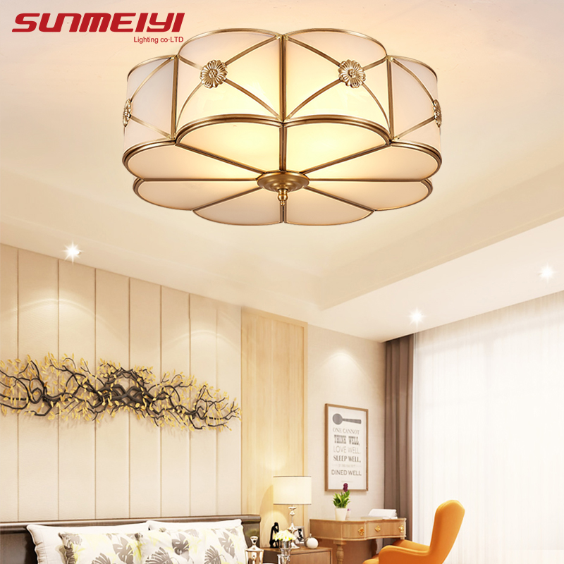 Modern LED Ceiling Lights Foyer Copper lamparas de techo vintage E27 Lamp Ceiling For Living room Bedroom Home Lighting 2017 acrylic modern led ceiling lights fixtures for living room lamparas de techo simplicity ceiling lamp home decoration