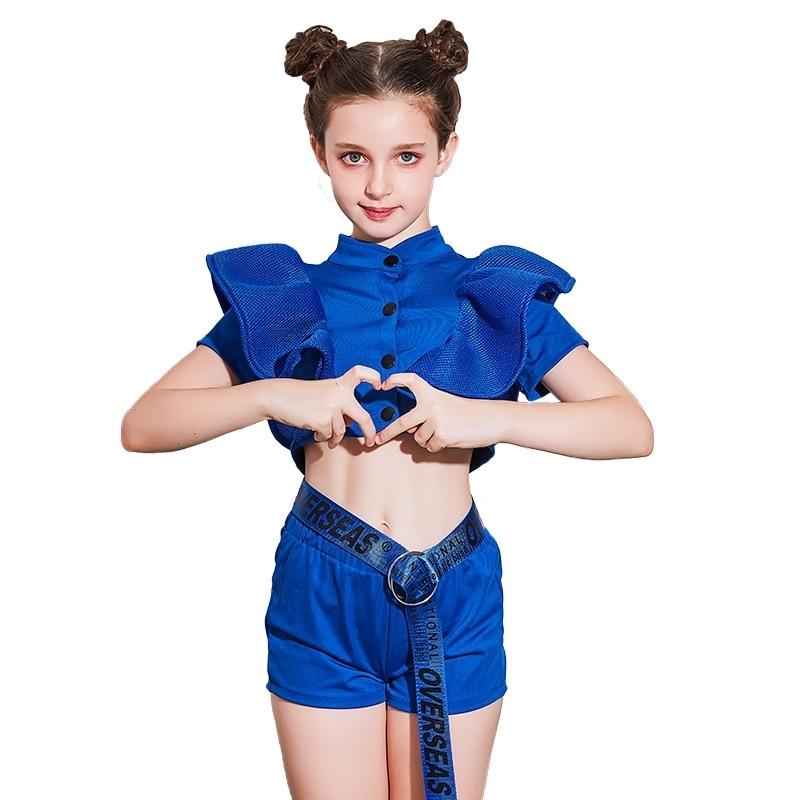 Детские танцевальные костюмы для девочек, сценические наряды, Одежда для танцев в стиле хип-хоп, уличные танцевальные костюмы для выступления детская одежда, яркая одежда DC1002