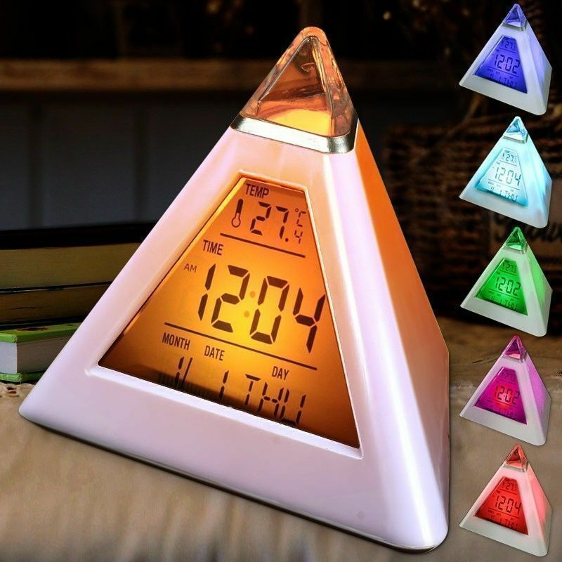 7 Colors Colorful Pyramid LCD Alarm Clock Night Light Thermometer Digital Wall Clock Changeable Led Clock Home Decor Accessorier