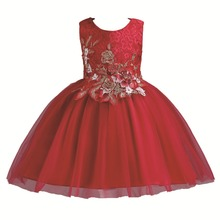 Christmas Girls Embroidery Flower Dress Kids Tutu Birthday Party Princess Dress For Girls Lace Ball Gown Wedding Party Dresses