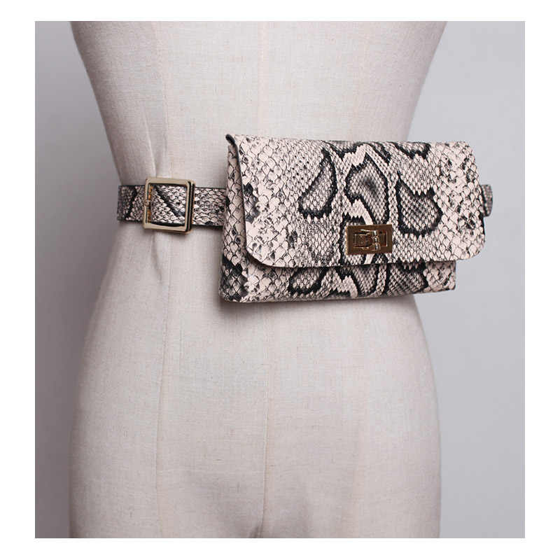 Fanny Pack Fashion Serpentine Waist Bag Women Leather Waist Pack Vintage Waist Belt Bags Phone Pocket B19
