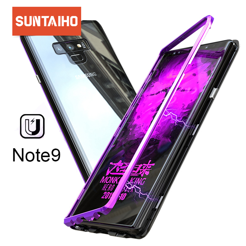 Suntaiho Magnetic Attraction Case for Samsung Note 9 Case Tempered Glass Back Phone Case for Samsung Galaxy S9 Plus Cover Note8