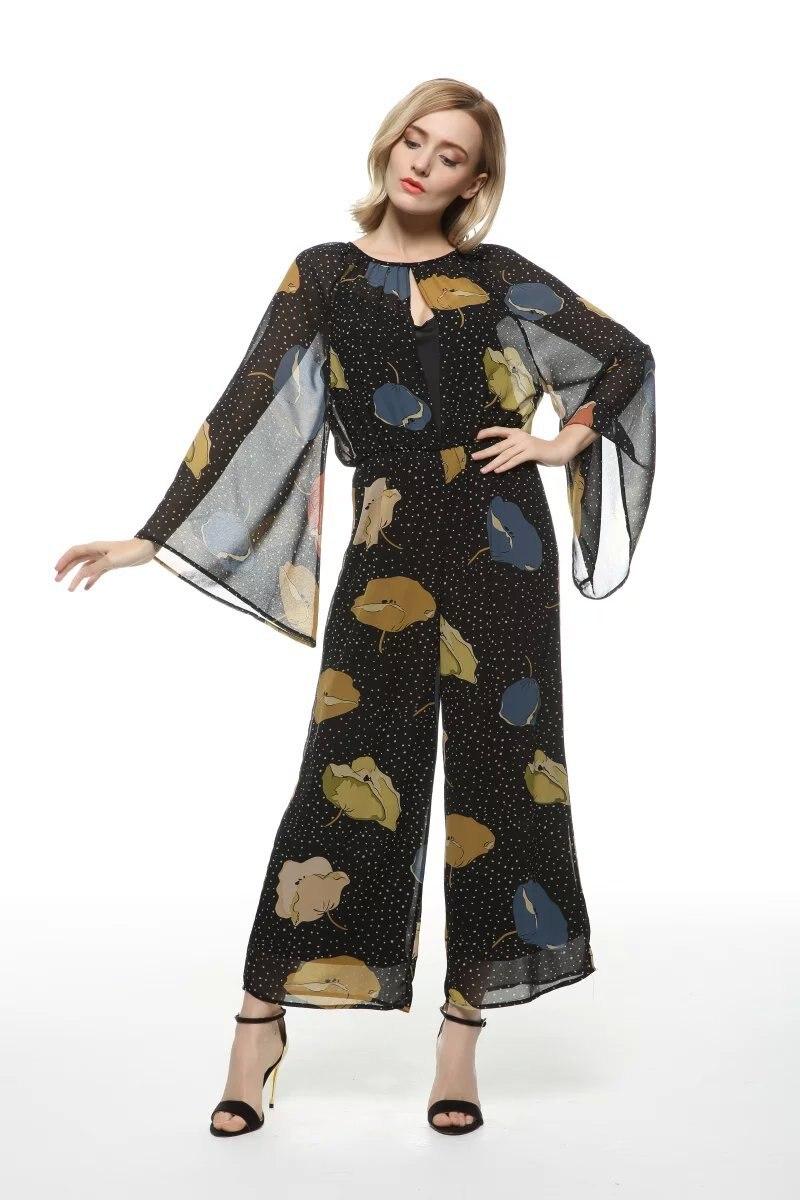 VogaIn 2016 Fashion Women Black Chiffon Wide Leg Loose Printed Jumpersuits Long Sleeved