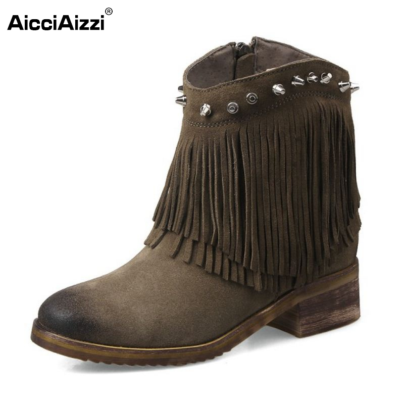 Autumn Winter Ankle Boots High Heel Fringe Boot Women Fashion Gladiator Tassel Rivets Botas De Inverno Size 33-43