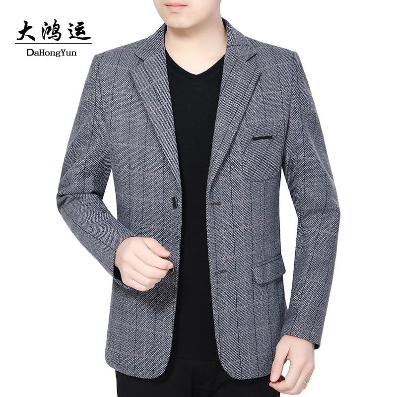 2019 Autumn Outfit New Men Grid Plaid Suit, Business Suit Cultivate One's Morality Two-button Suit