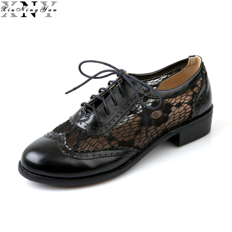 2017 Elegant Lace Women Oxford Shoes Sexy Low Heel Shoes Women Spring Autumn Breathable Round Toe