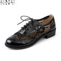 Xiuningyan أنيقة الدانتيل المرأة أكسفورد أحذية مثير منخفض كعب النساء ربيع الخريف تنفس تصليحه أحذية جولة تو اليدوية سيدة