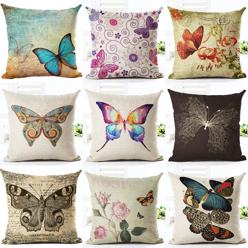 Aliexpress.com : Buy Homing Cute Butterfly Printed Cushion Cover Pattern Decorative Pillow Case Linen Square Throw Pillow Cover Home Textile from Reliable ...