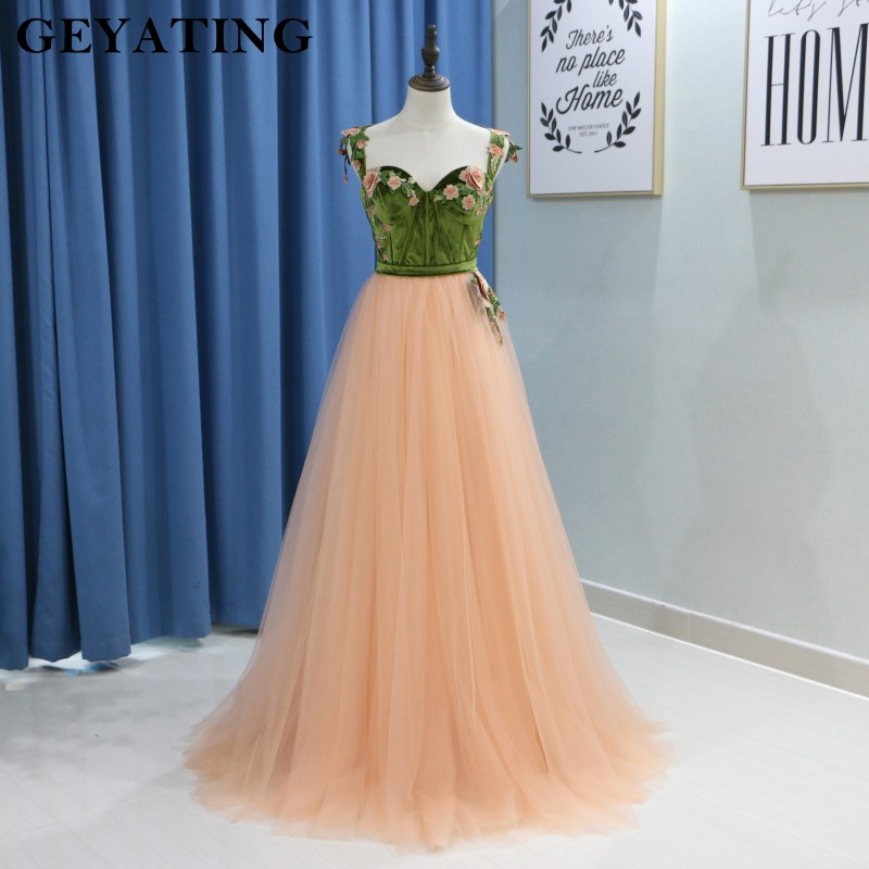 aaf2c1a765d Coral Spaghetti Straps Long Peach Prom Dresses 2019 Green Velvet 3D Floral  Girls Pageant Engagement Arabic Evening Party Gowns-in Prom Dresses from  Weddings ...