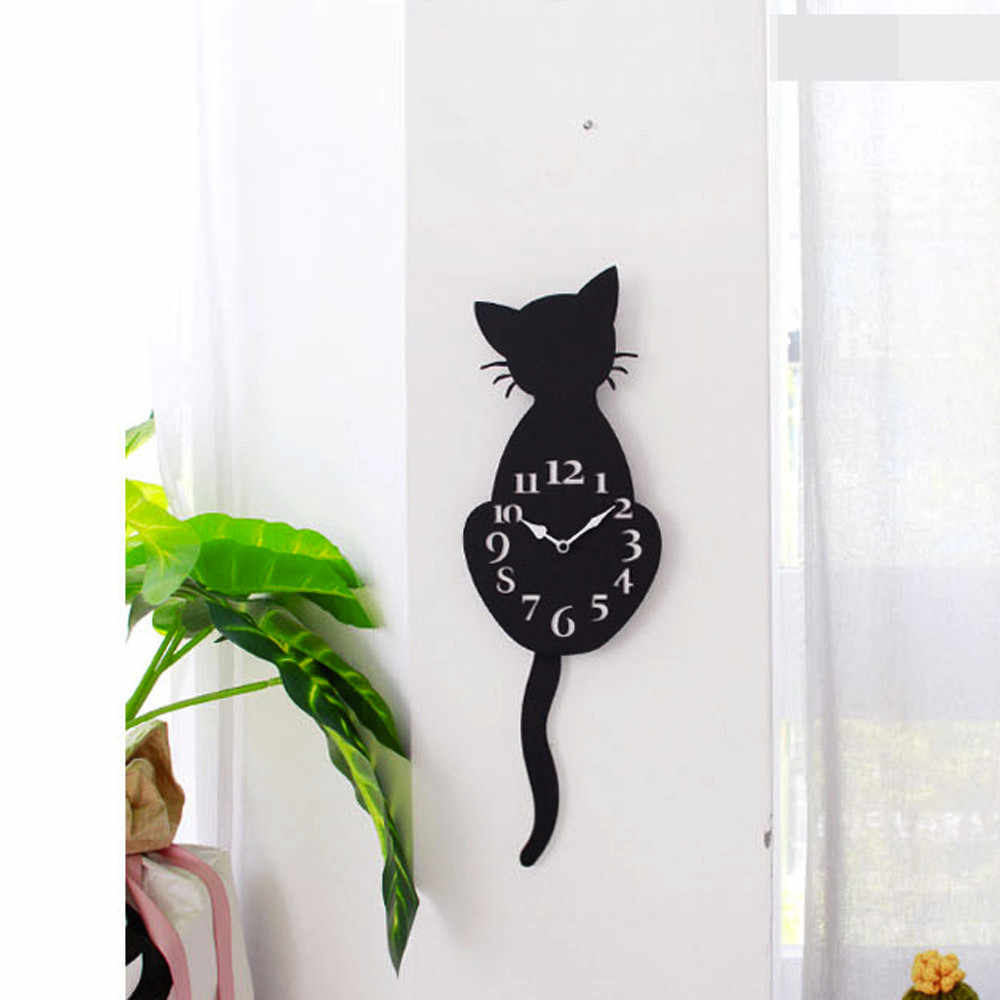 Домашние акриловые креативные настенные часы с милым мультяшным котом для