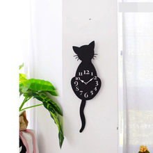 3D Large Wall Clock DIY Large Modern Frameless Home Decor Cat Big Clock Mirror For Bedroom Living Room Kittens Kitty Wall Decor(China)