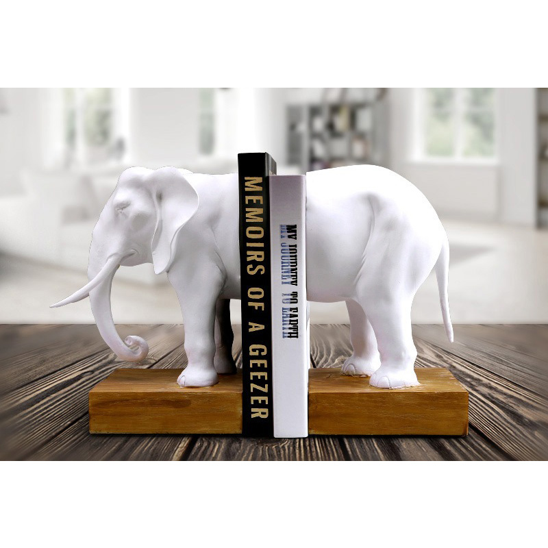 Home Decoration Accessories Bookend Resin Animal Elephant Figurines Elephant Bookend Model Miniature Creativity Handwork Classic african elephant