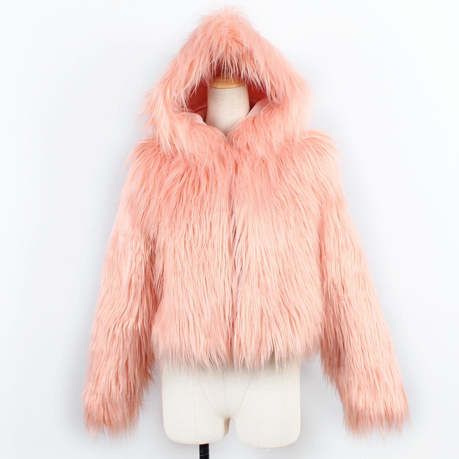 5c69ec43418 ArtSu Fashion Winter Faux Fur Coat Plus Size 3XL Pink White Black ...