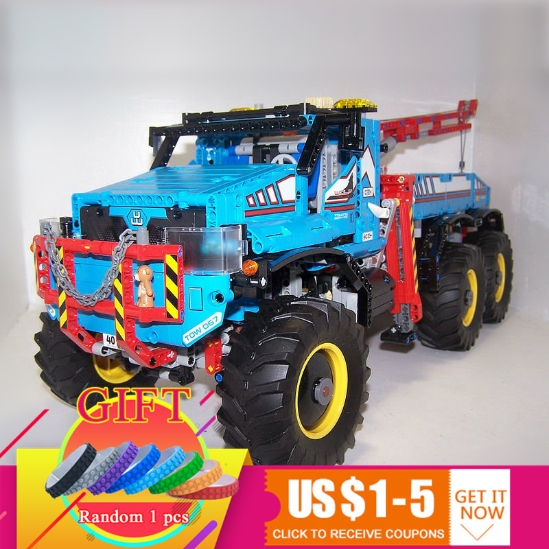 20056 1912Pcs Technical Series The Ultimate All Terrain 6X6 Remote Control Truck Set Building Blocks Toys Compatible 42070 toys lepins 1912pcs technic series the ultimate all terrain 6x6 remote control truck building blocks bricks toys model figures gift