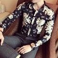 2017 Цветок Рубашки Мужские Печати Дизайнерские Модные Рубашки Британский Camisa Уменьшают Подходящую Roupas Masculina Vetement Homme Клуб Наряд