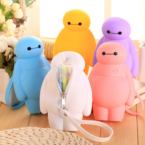 17/20Cm Silicone Big Hero Baymax Kawaii Pencil Cases Multi-functional Stationery Pen Bags Storage Pencil Box School Supplies 009 pencil bags pencil cases pencil box rose red