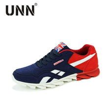 Unn 남성 캐주얼 신발 봄 가을 통기성 남성 플랫 신발 zapatillas hombre 패션 신발 남성 블루 레드 그레이 크기 7 10.5