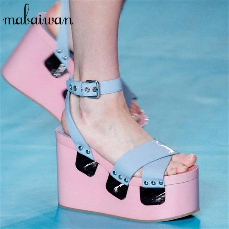 Cute Pink Women Summer Sandals Wedge Shoes Woman Fashion Women Pumps Straps Gladiator Sandal Casual Platform Footwear phyanic 2017 gladiator sandals gold silver shoes woman summer platform wedges glitters creepers casual women shoes phy3323