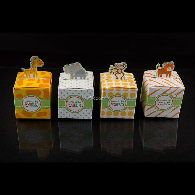 24 Mix Born To Be Wild Jungle Theme Baby Shower Favor Candy Boxes