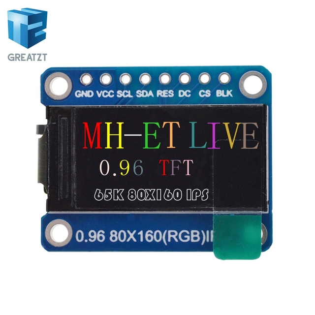 GREATZT 1pcs IPS 0.96 inch 7P SPI HD 65K Full Color OLED Module ST7735 Drive IC 80*160  0.96 TFT Good