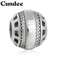 Pave Clear CZ Forever Charm Beads Original 925 Sterling Silver Alphabet Bead With Brand Logo Diy