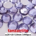 Tanzanita Color de Cristal Rhinestones Para Uñas Arte 1440 unids ss20 4.8-5.0mm Ronda Posterior Plana para no Glue Hotfix en Strass Diamantes DIY