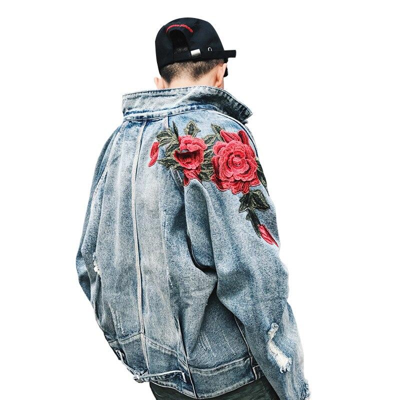 2018 Frühling Neue Männer Kleidung Denim Jacke 3d Rose Blume Stickerei Vintage Ausgefranste Loch Mäntel High Street Hip Hop Oberbekleidung