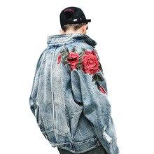 Primavera nueva chaqueta de mezclilla para hombres 3D Rosa flor bordado Vintage deshilachado agujeros abrigos High Street Hip Hop prendas de vestir exteriores