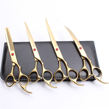 C3003 4Pcs 7 19.5cm Customized Logo 440C Grooming-for-dogs Clippers For Mascotas Straight Razor Professional Pets Hair Scissors