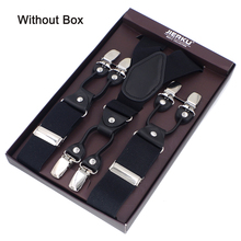 JIERKU Suspenders Man's Braces 6 Clips Black Leather Suspensorio Trousers Strap Father/Husband's Gift 3.5*120cm