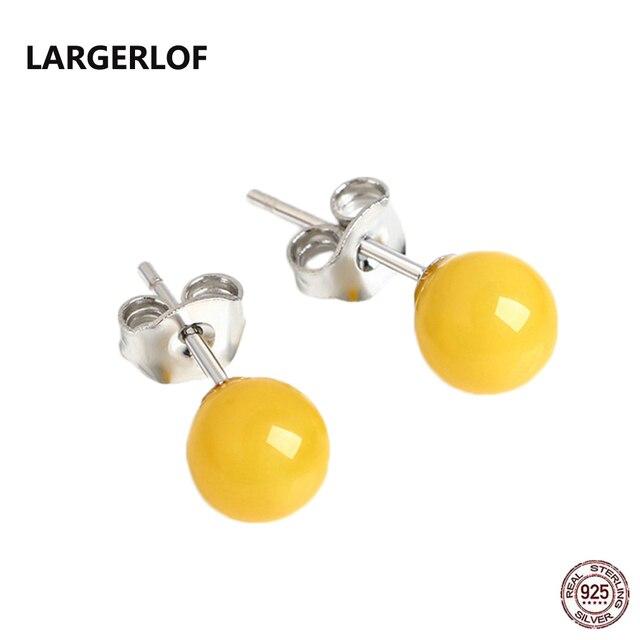 LARGERLOF 925 Orecchini In Argento Sterling donne Ambra Orecchini In Argento 925 Gioielli Orecchini con perno AED35005