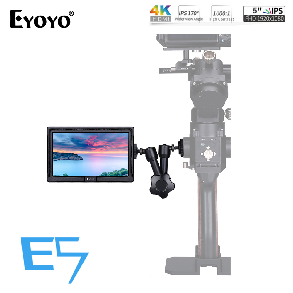 "Eyoyo E5 5"" Inch 1920x1080 Mini HDMI Field Monitor 4K IPS On-Camera Video monitor DSLR for Canon Nikon Sony DSLR Camera Video"