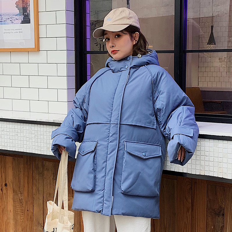 2019 New women   parkas   coat winter Thick warm long hooded jacket coat big pocket fashion loose down jacket for female