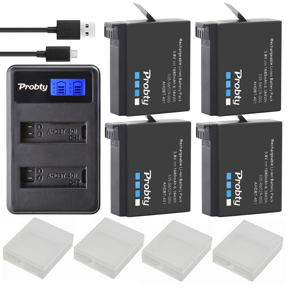 4Pcs Probty AHDBT-401 + LCD USB Dual Charger For Gopro Hero 4 Batteries Go Pro Hero4 bateria AHDBT 401 Action camera Accessories