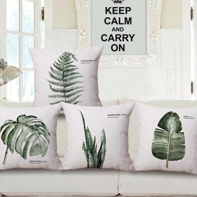 Sofa Chair Backrest Green Leaves Cushion Artificial Plants Palm Banana Leaf Decor Tropical Throw Pillows For