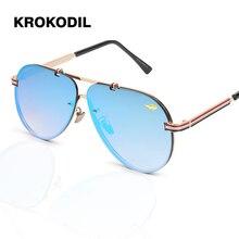 KROKODIL Retro Unisex gafas de sol hombres Wom moda gafas de sol de diseñador de marca de lujo para mujer gafas de sol
