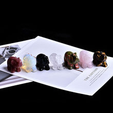 1PC Natural Rose Stone Obsidian Elephant Crystal Crafts Home Furnishings Lucky Items Aura Feng Shui Decoration(China)