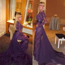 Purple Full Lace Beads Long Sleeves Evening Dress 2019 Arabic Muslim Gowns with Detachable Train Sheer Prom Dresses