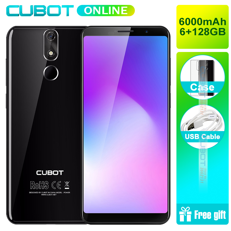 Cubot Power Android 8.1 Helio P23 Octa Core 6000mAh 6GB RAM 128GB ROM 5.99 Inch FHD+ 6P lens Smartphone 16.0MP Celular 4G LTE
