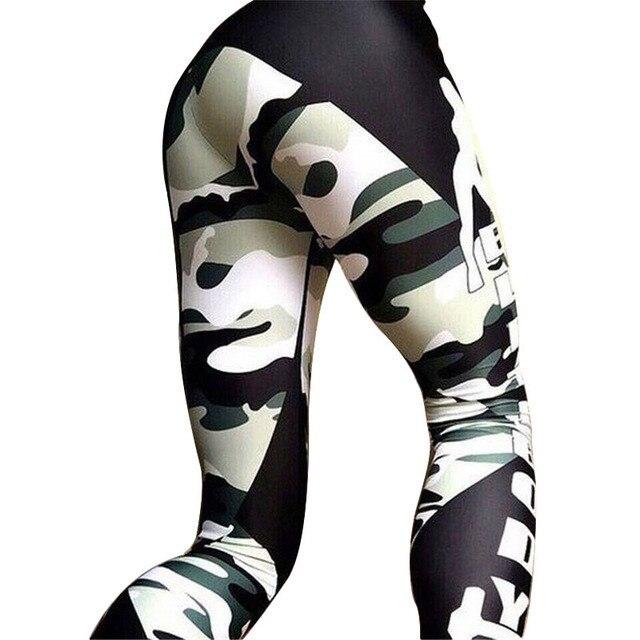 2017 Fashion Camouflage Print Fitness Skinny Legging Pants Female Clothing Slim Athleisure Leggings Elastic Push Up Leggings