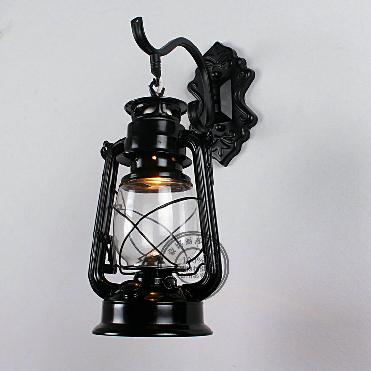European minimalist wall lamp bedroom garden mirror lamp retro lighting wrought iron wall lamps bedside lamp led Lantern GY141 contracted personality creative wall lamp wrought iron antique european style double head wall lamps bedroom lamps