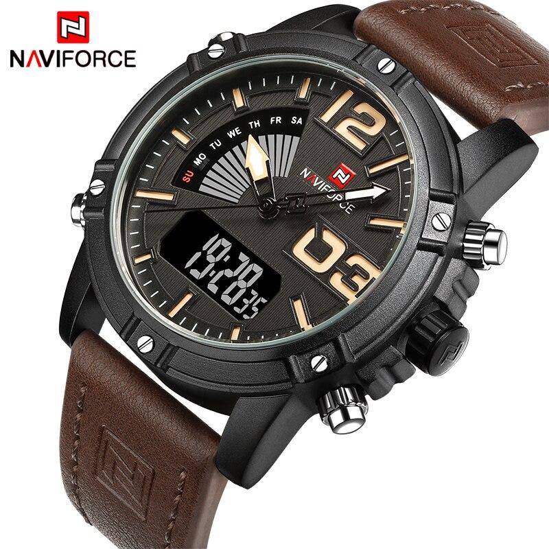 2018 NAVIFORCE Pánské módní sportovní hodinky Muži Quartz analogové LED hodiny Muž kožené vojenské vodotěsné hodinky Relogio Masculino