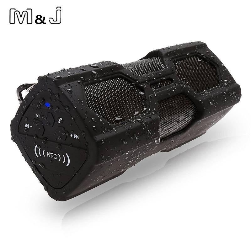 M & J PT-390 नई आउटडोर वाटरप्रूफ वायरलेस ब्लूटूथ 4.0 एनएफसी स्पीकर स्टीरियो चार्जर फंक्शन पावर बैंक स्पीकर सबवूफर