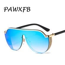 PAWXFB 2019 Big Frame Oversized Shield Sun Glasses Men New One Piece Lens Sunglasses Ladies UV400 gafas de sol