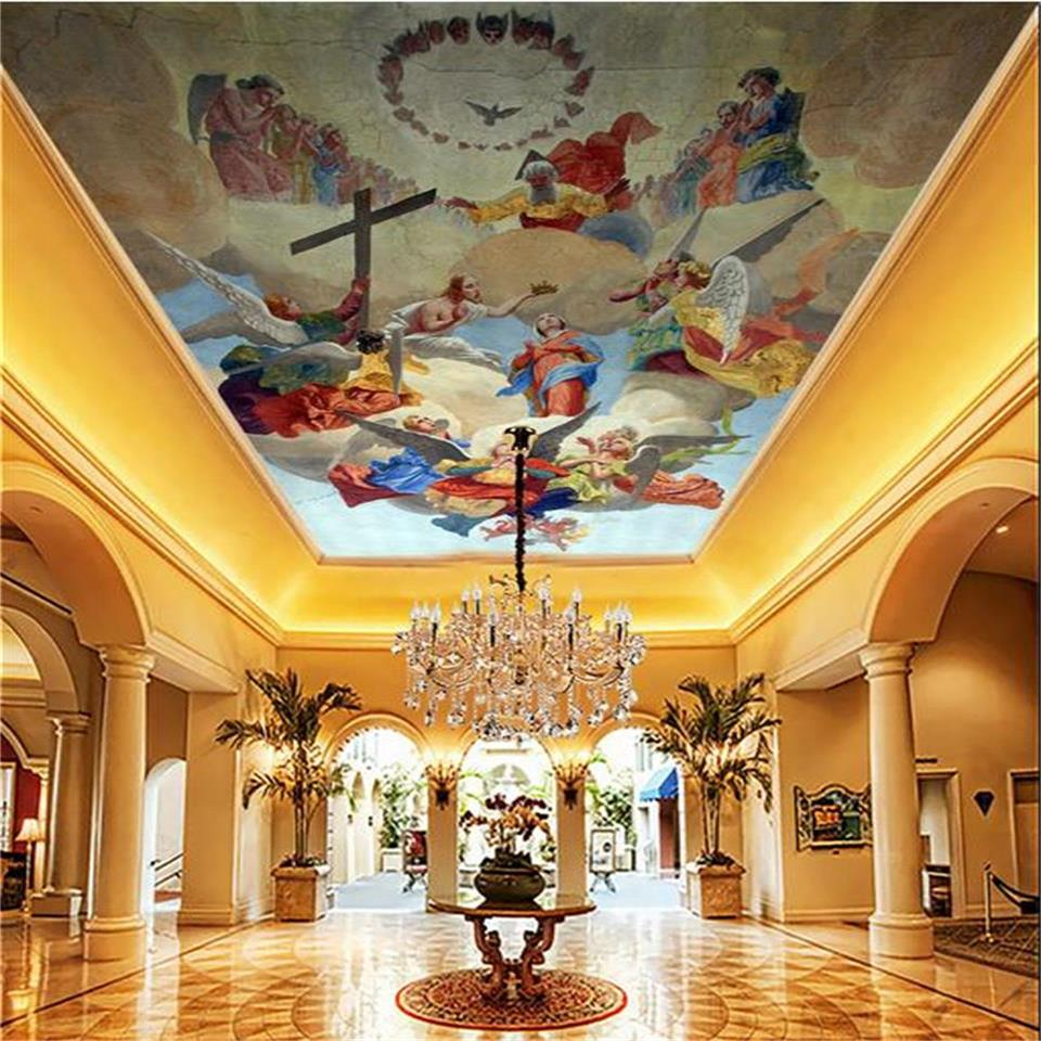3D wallpaper custom size photo living room bar hotel hang ceiling mural lineage angel painting non-woven wallpaper for wall 3d custom 3d stereo ceiling mural wallpaper beautiful starry sky landscape fresco hotel living room ceiling wallpaper home decor 3d