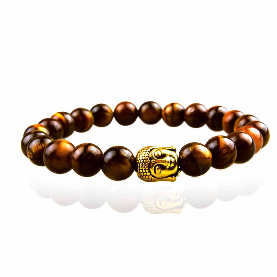 Hurtownie czarny kamień z lawy wulkanicznej tygrysie oko głowa buddy 8mm bransoletka z paciorkami dla mężczyzn moda osobowość biżuteria