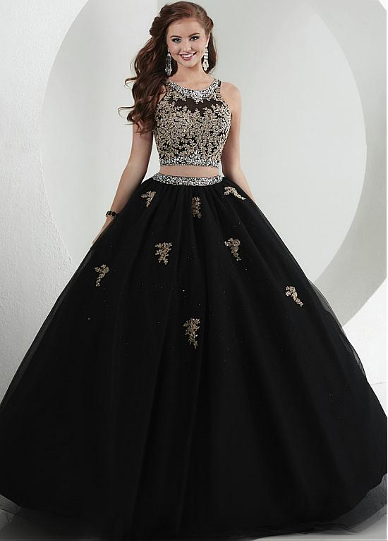 Black Gold Appliques Two Pieces Ball Gown Prom Dresses 2017 Long ...