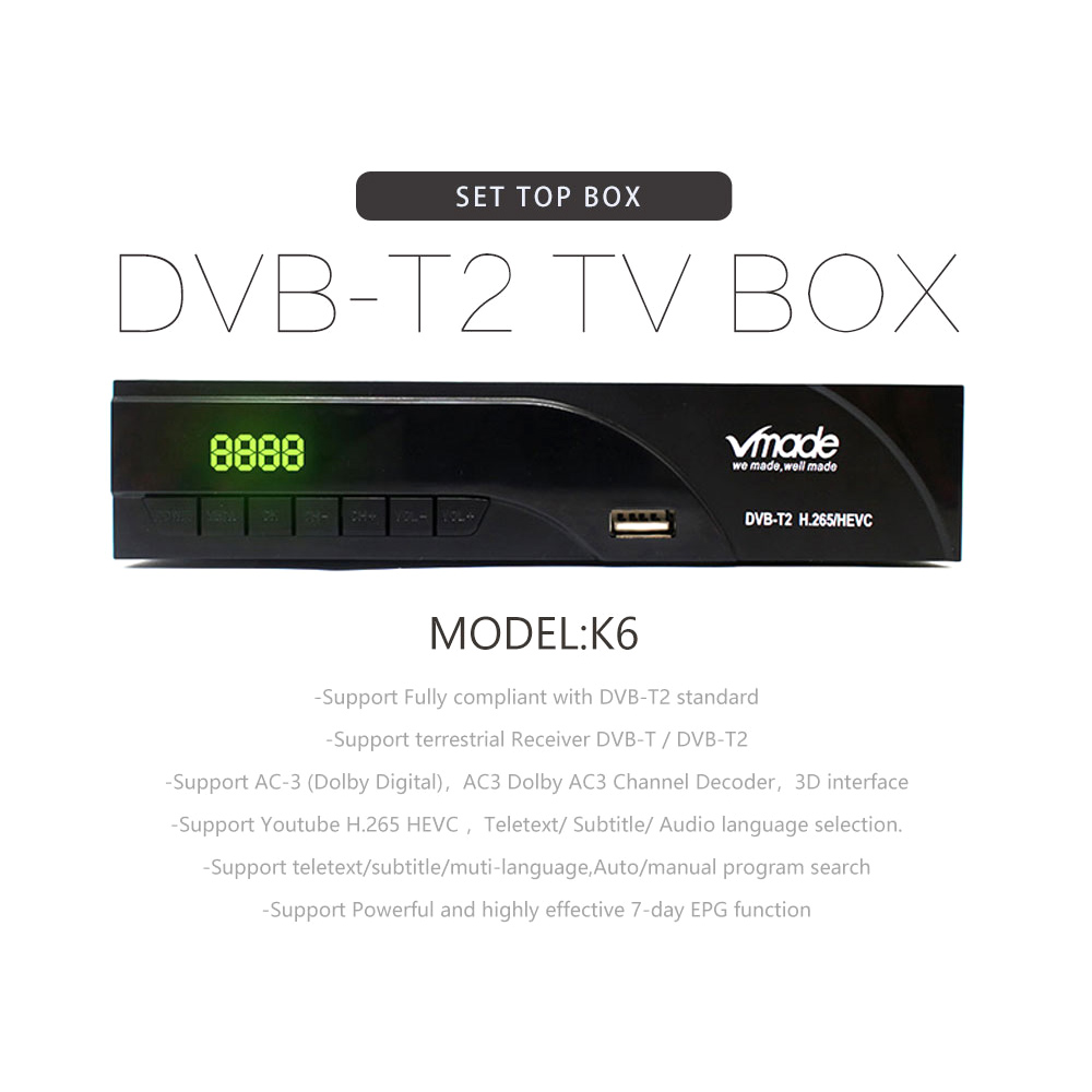 Image 2 - Vmade Fully HD Digital DVB T2 K6 scart/AV Terrestrial Set Top Box Support H.265 HEVC HD 1080p Dolby AC3 DVB T2 TV Receiver Tuner-in Satellite TV Receiver from Consumer Electronics