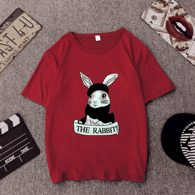 Cute Rabbit Print Women Tshirt High Quality Short Sleeve Round Neck Cotton Spandex Women Tops Casual Loose Women T-shirt 9